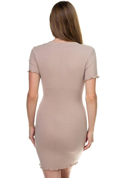 Ribbed Button Mini Dress