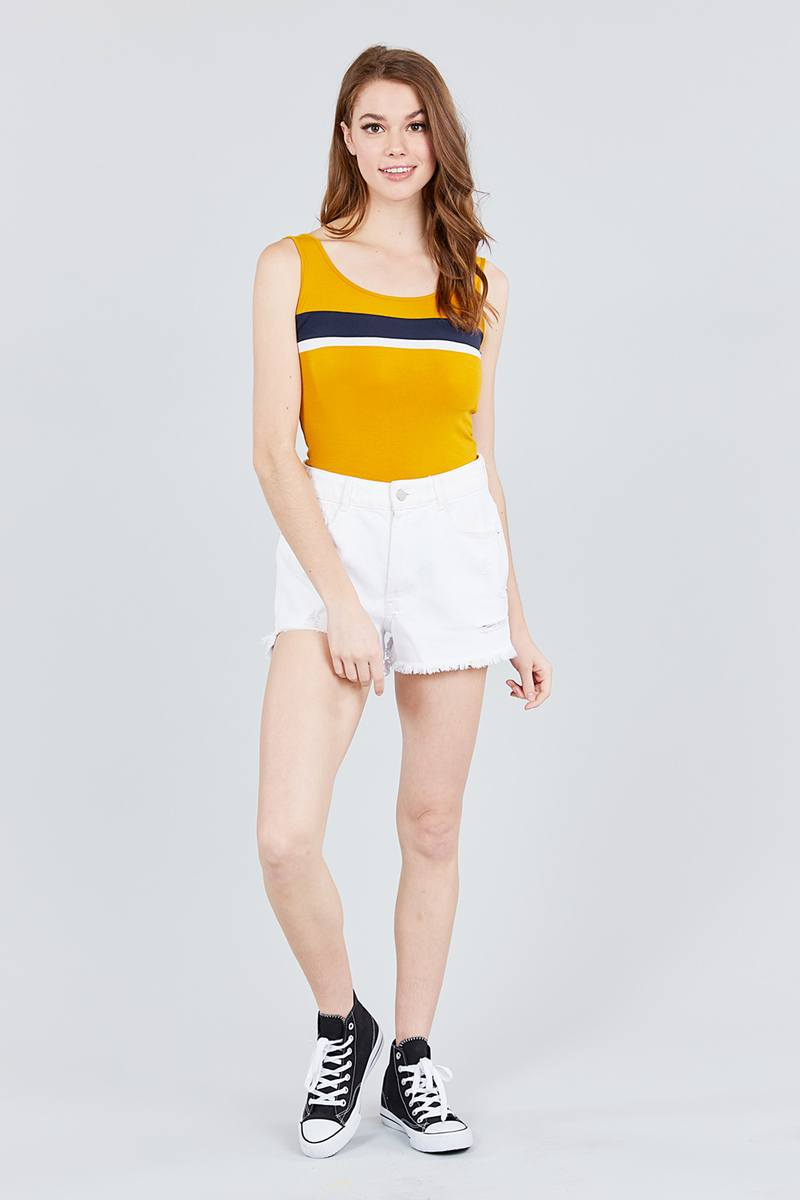 Double Scoop Neck Color Block Knit Tank Top