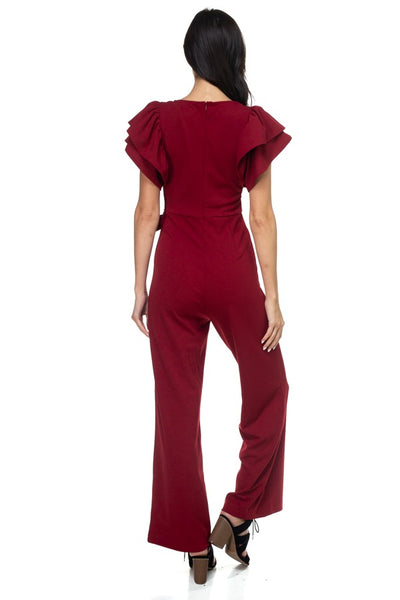 Ruffle Sleeve V-neck Jumpsuit