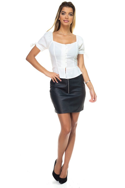 Faux Leather O-ring Zipper Up Skirt