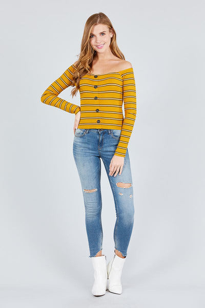 Long Sleeve Off The Shoulder Neckline Button Down Multi Stripe Rib Knit Top