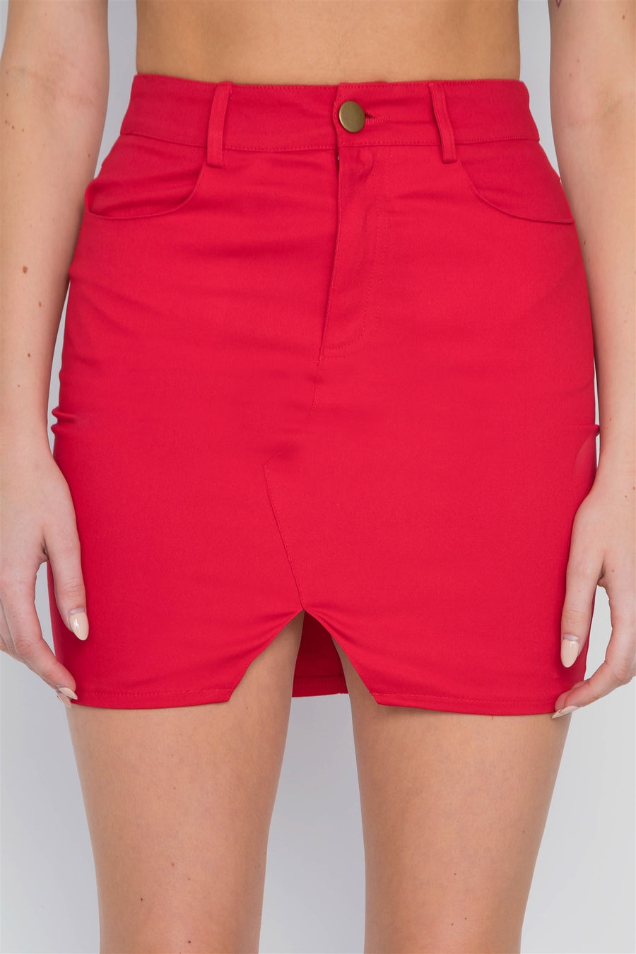 Red High-waist Solid Denim Mini Skirt