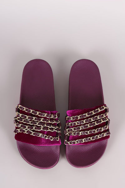 Bamboo Velvet Chain Embellished Open Toe Slide Sandal