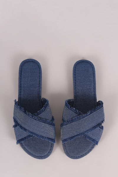 Bamboo Frayed Denim Cross Band Slide Sandal