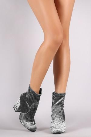 Bamboo Velvet Almond Toe Chunky Heeled Booties