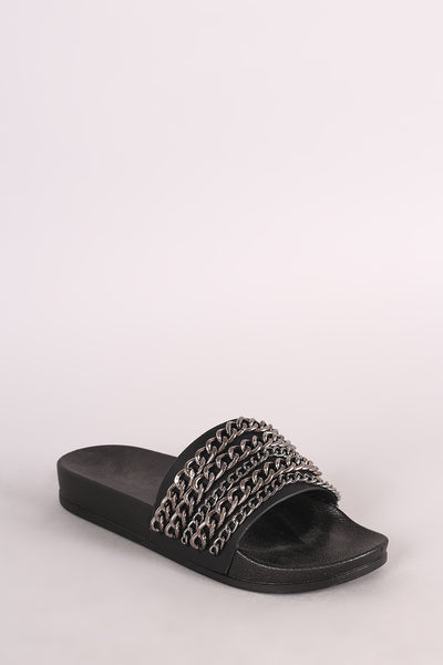 Chain Embellished Open Toe Slide Sandal