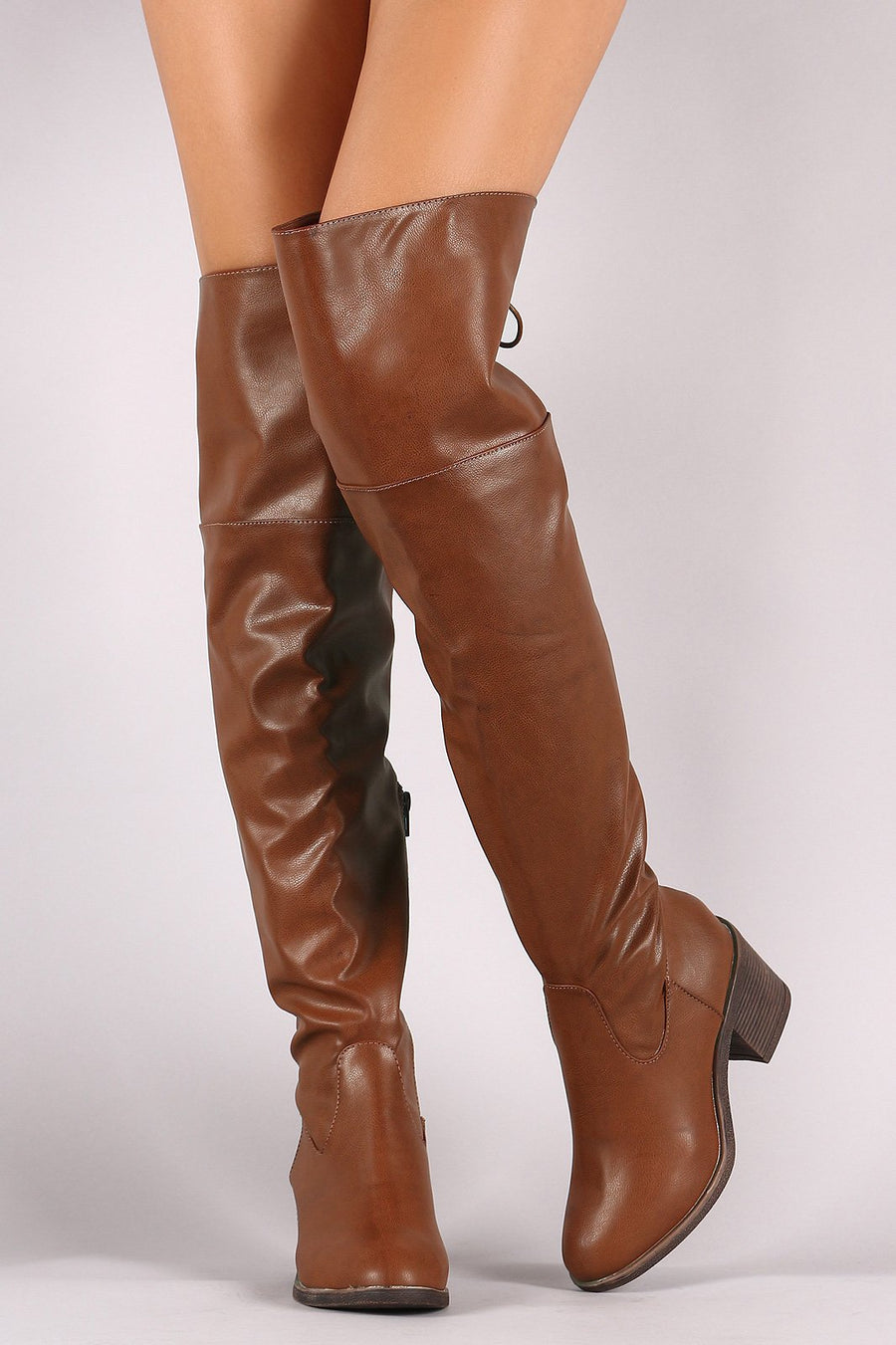 Bamboo Back Lace Up Chunky Heeled Over-The-Knee Boots