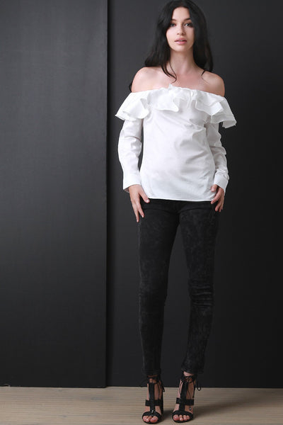 Bardot Ruffle Tier Long Sleeve Top