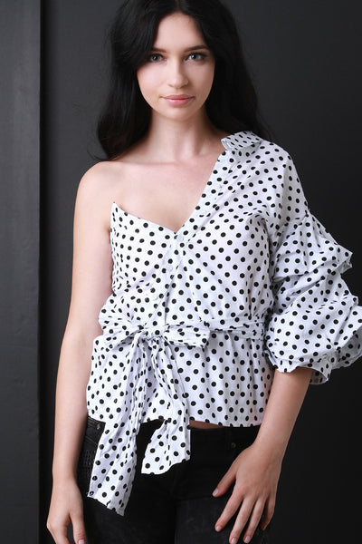 Asymmetrical One Shoulder Polka Dots Statement Sleeve Top