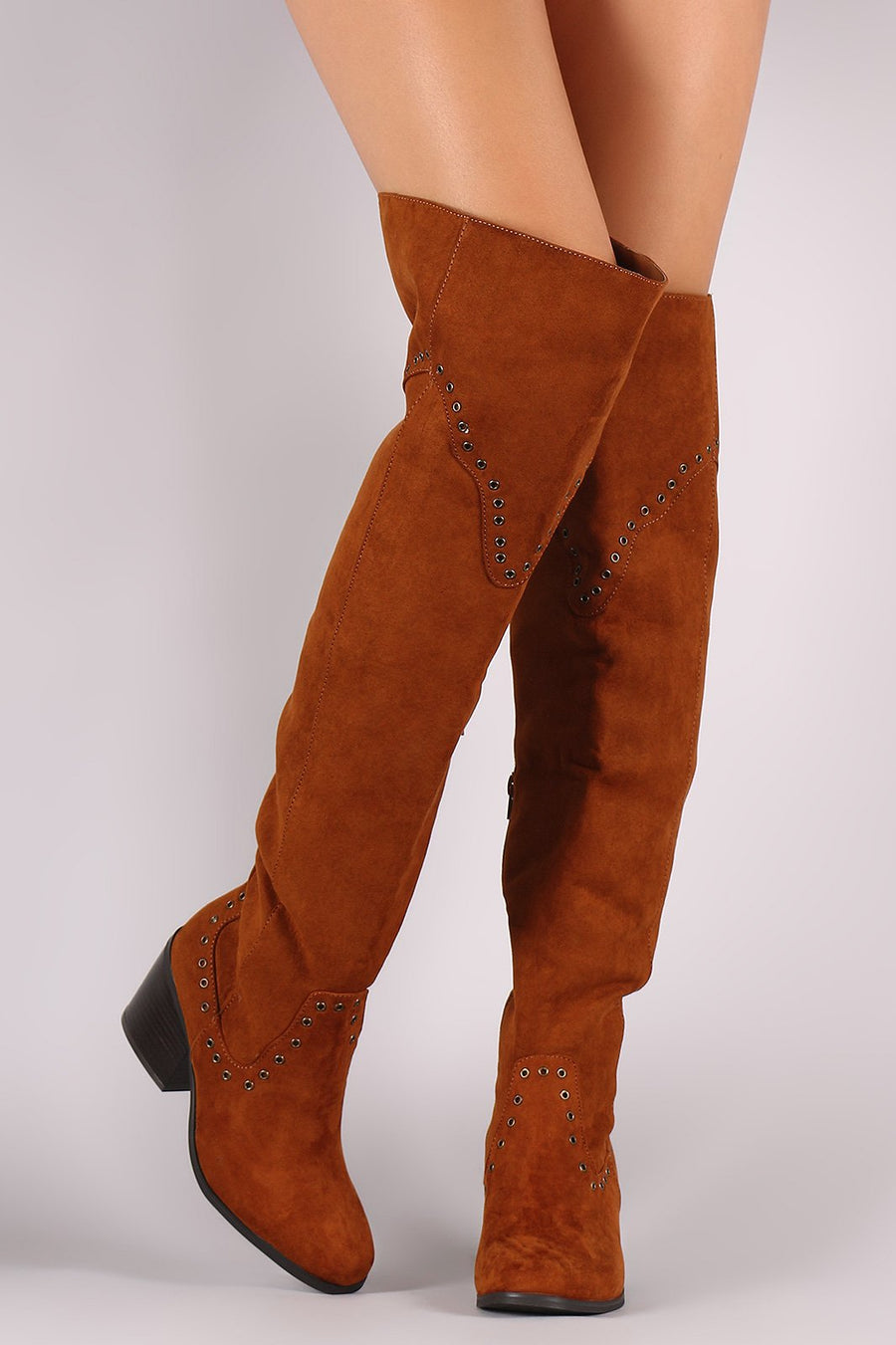 Bamboo Grommet Western Over the Knee Boots