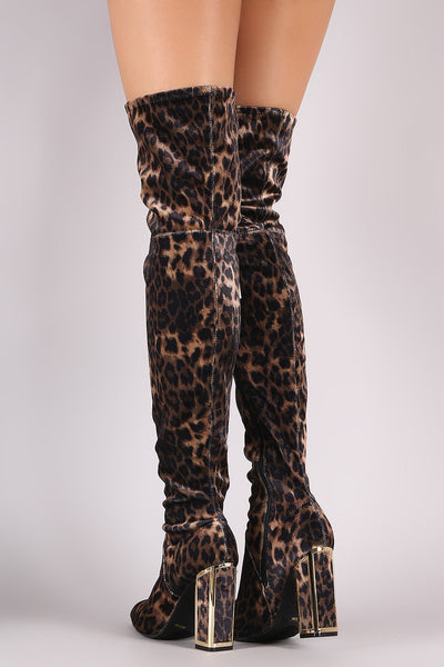 Bamboo Stretched Leopard Velvet Caged Chunky Heeled OTK Boots