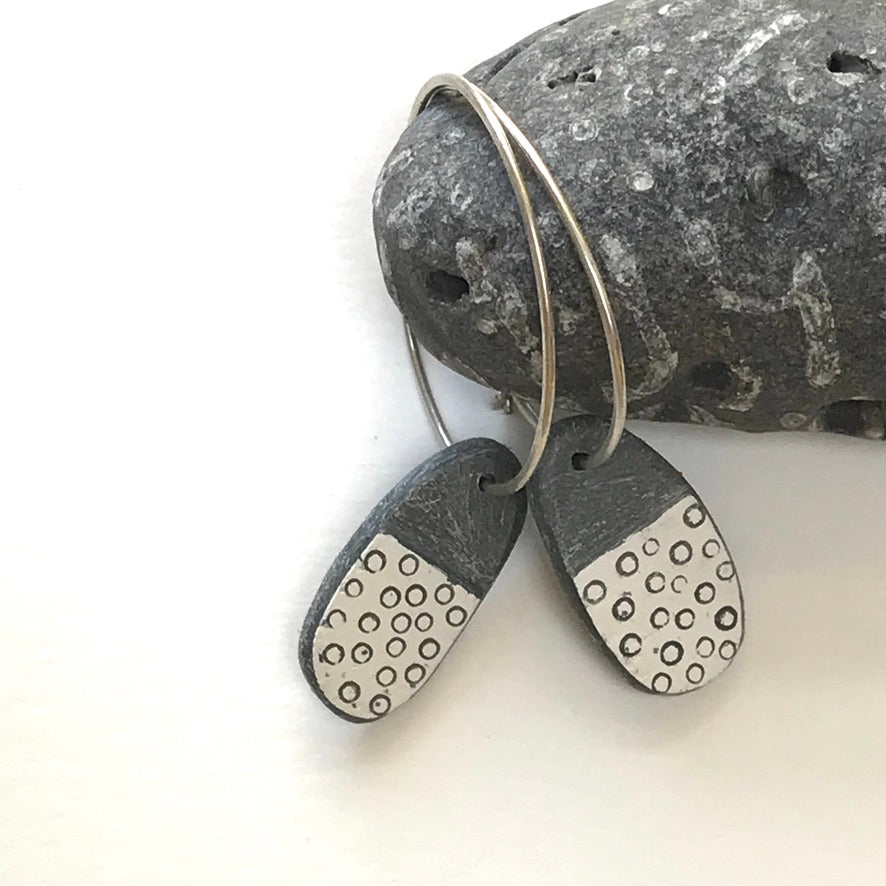 Slate Fossil Drop Earrings
