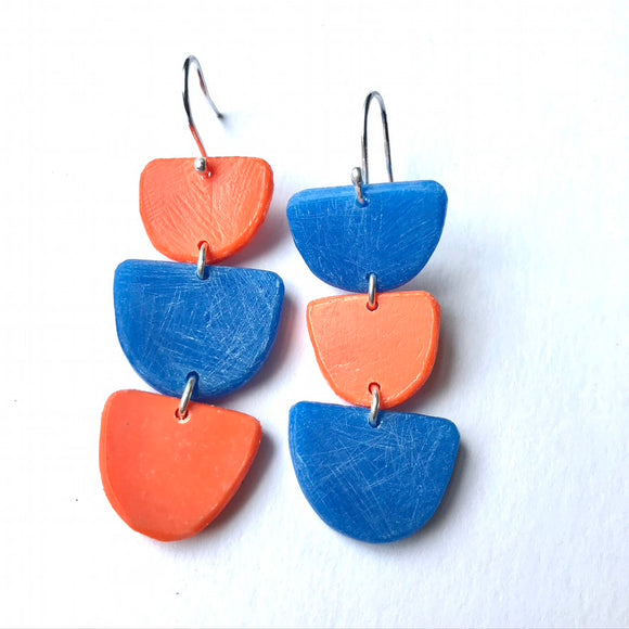 Stacked Boats Earrings - orange and blue