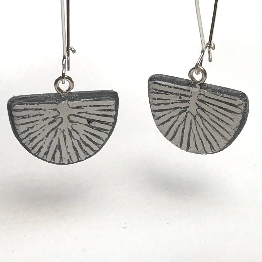 Slate Fossil Loop Earrings