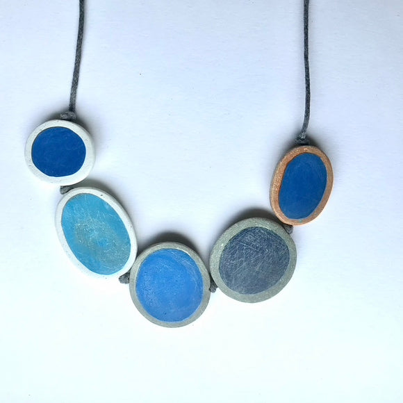 Five Blues Pebble Knotted Necklace