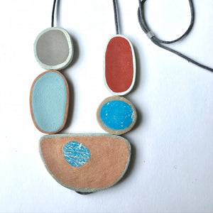 Stacked Pebble Necklace - blue and red