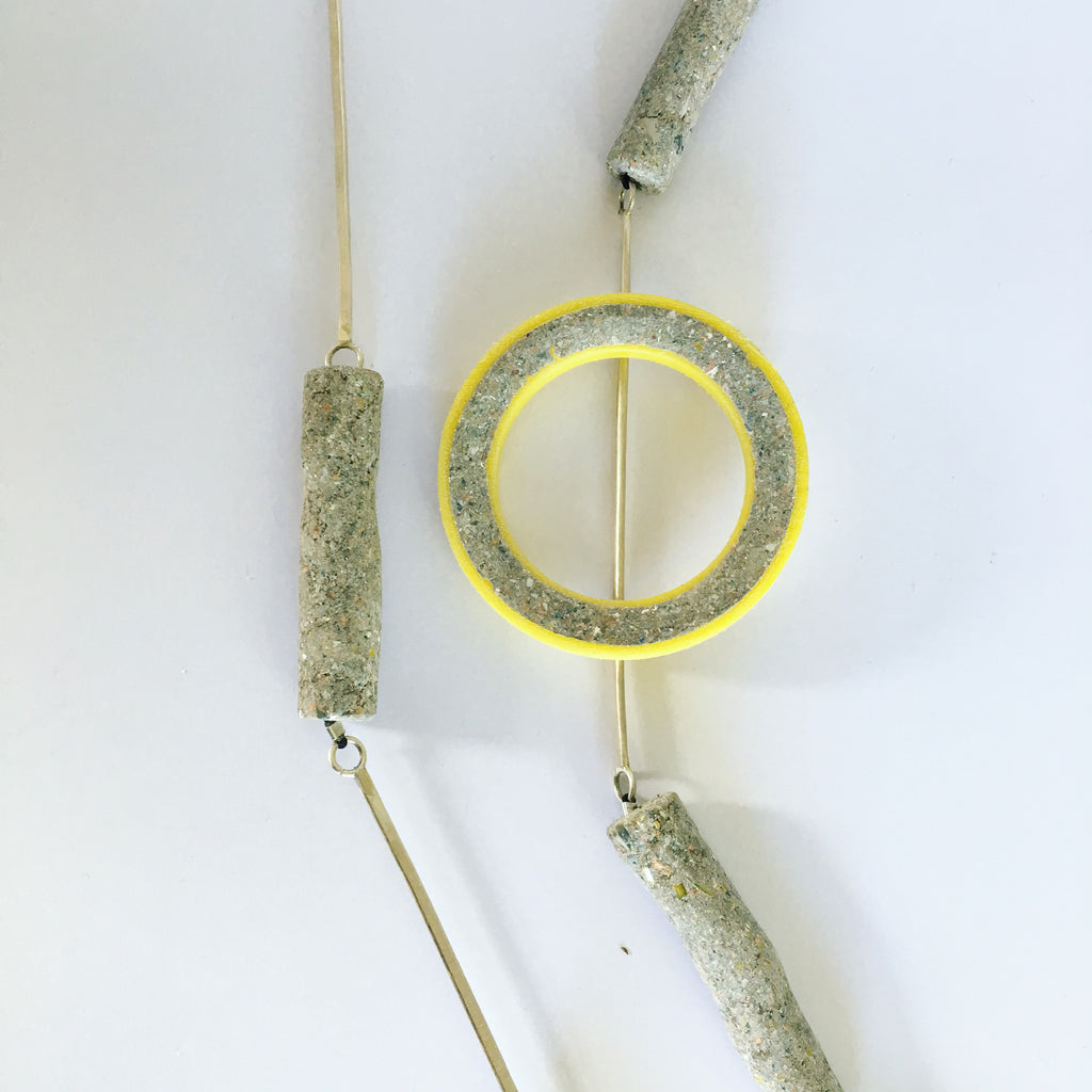 Yellow silver ring necklace
