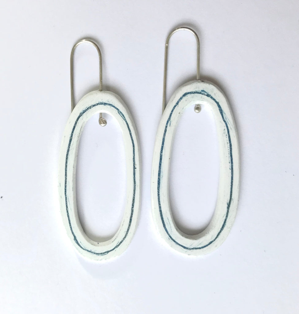 Pool with Blue Line Earrings