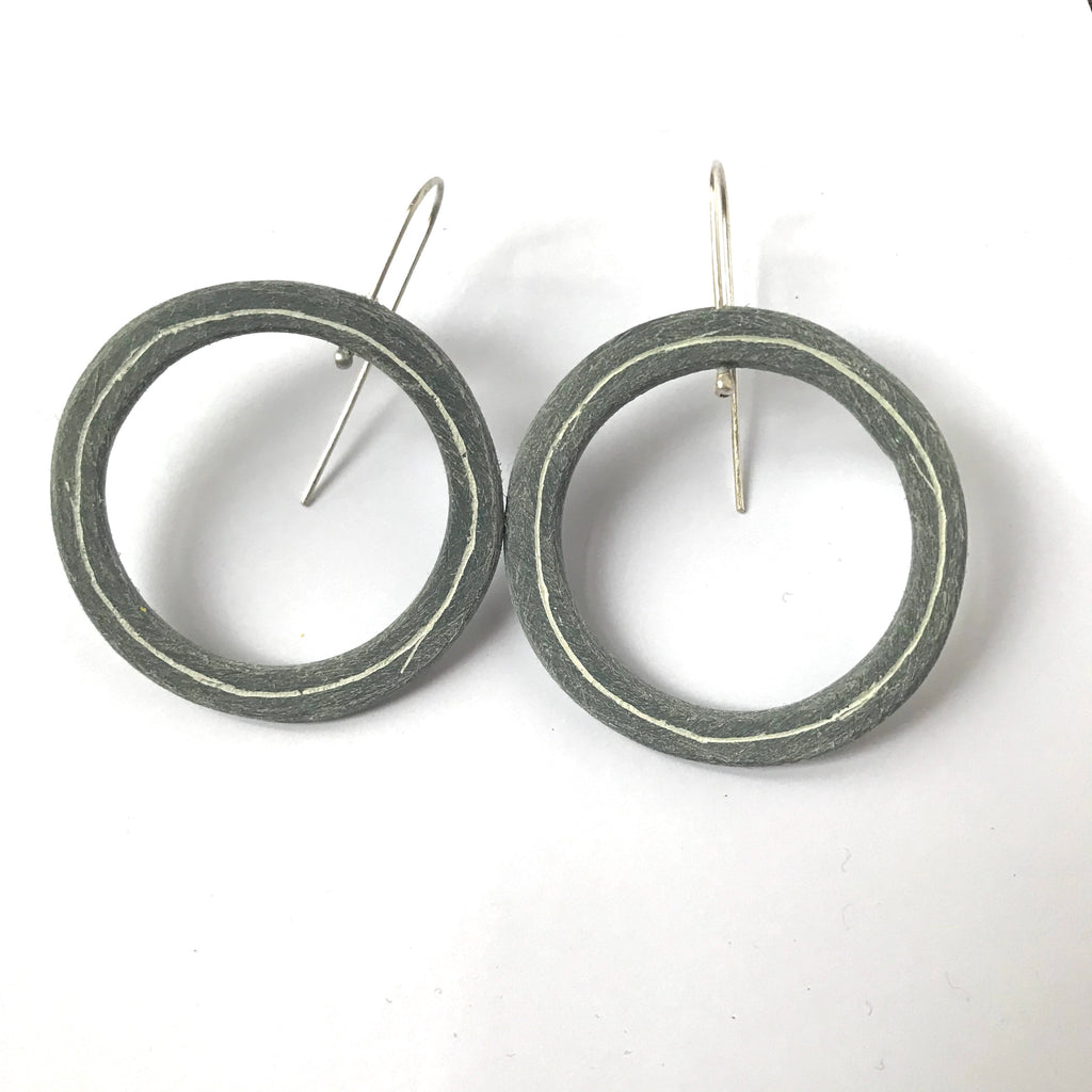 Large grey pinstripe earrings
