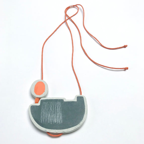 Boat necklace with orange buoy