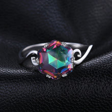 Sterling Silver Wedding Ring With Rainbow Stone