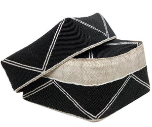 Black Bali Basket with White Details