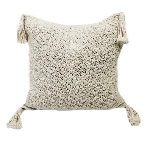 Cream Tassel Throw Pillow