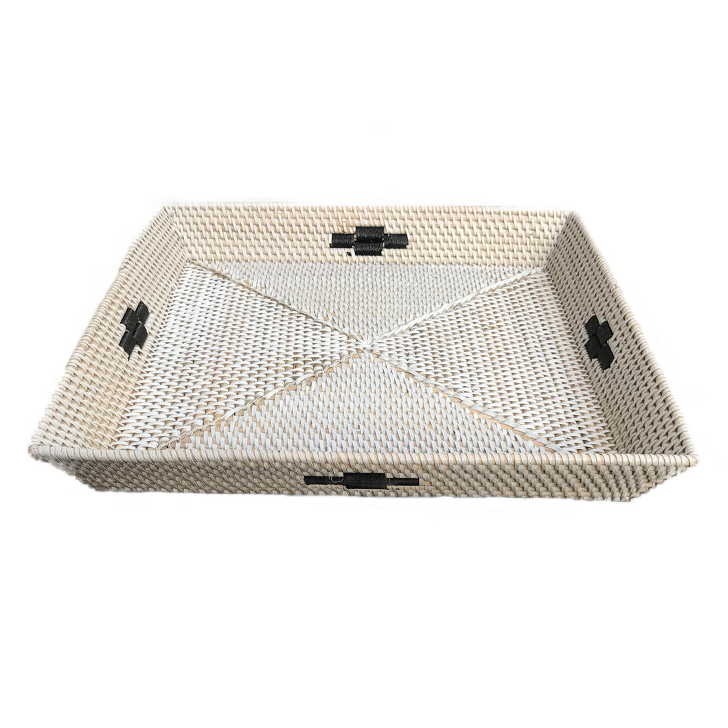 tray minimal black and white rattan handmade ethical sustainable decor