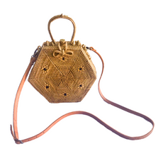 hexagon unique rattan handmade bali bag sustainable ethical vegan leather strap