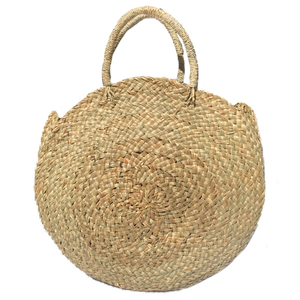 handmade sustainable ethical woven round seagrass natural bag