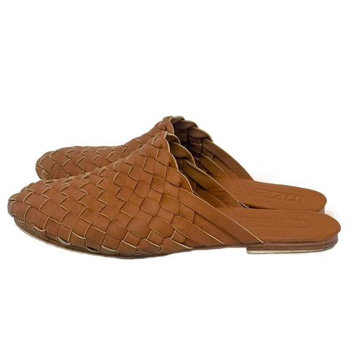 brown shoes slides leather handmade woven bali