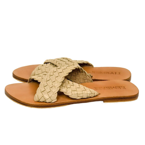 sandal nude woven leather strap handmade bali