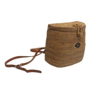 cute handmade rattan backpack with vegan leather straps