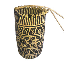 small bucket bag handmade bali woven rattan water bottle holder