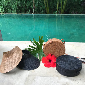 bali handmade woven round rattan bag vegan leather strap