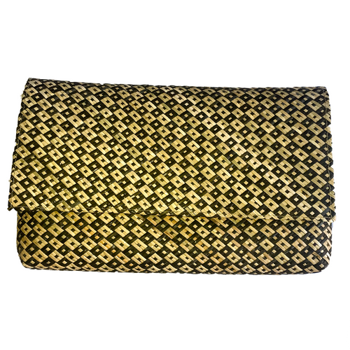 clutch patterned handmade netural suede bali ethical sustainable