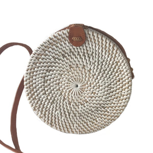 round small white handmade rattan bag bali ethical sustinable