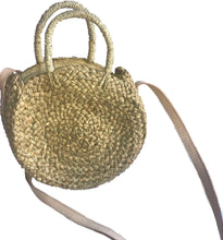 handmade woven round natural seagrass beach bag vegan leather strap