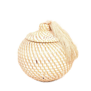 tassel decor bowl small rattan white handwoven bali ethical sustainable decor