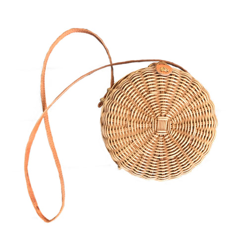 unique woven rattan round bag handmade bali sustainable ethical vegan leather strap