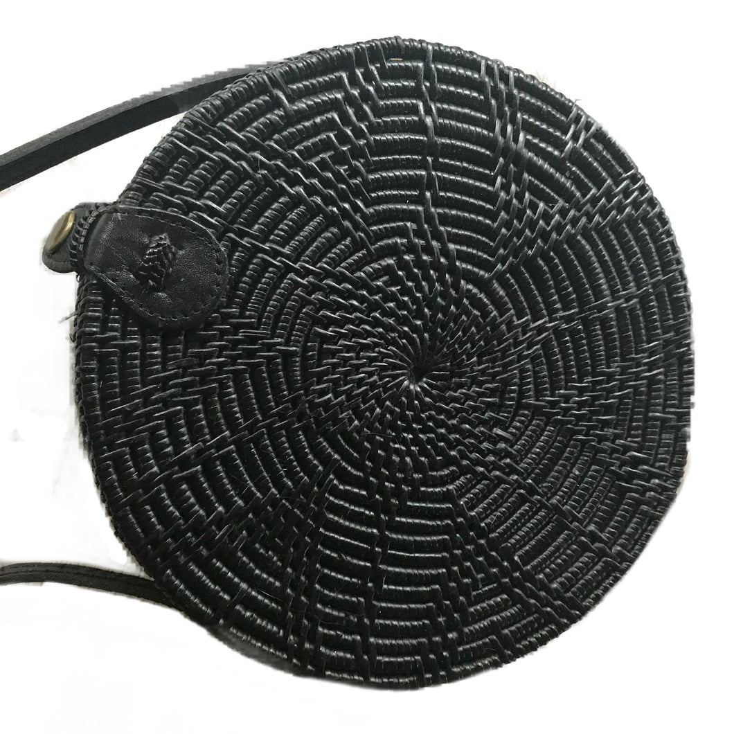 black bali handmade woven round rattan bag vegan leather strap