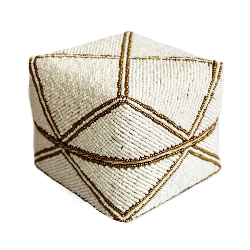 White with Gold Detail Bali Basket