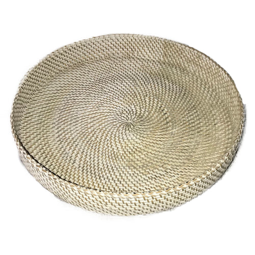 tray minimal white rattan handmade ethical sustainable decor