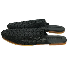 slides black leather everyday minimal chic shoes handmade bali woven