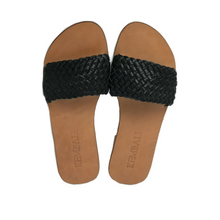 sandal black woven leather strap handmade bali