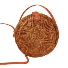 handmade woven round rattan bag vegan leather strap