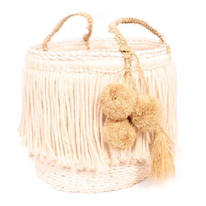 basket pom pom-pom laundry storage handmade woven bali ethical sustainable