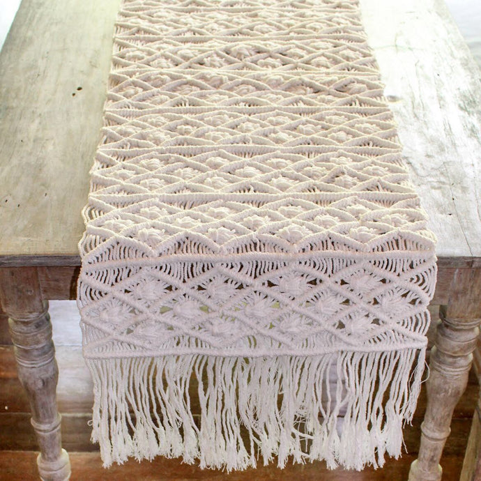 runner macrame handmade bali sustainable ethical natural decor