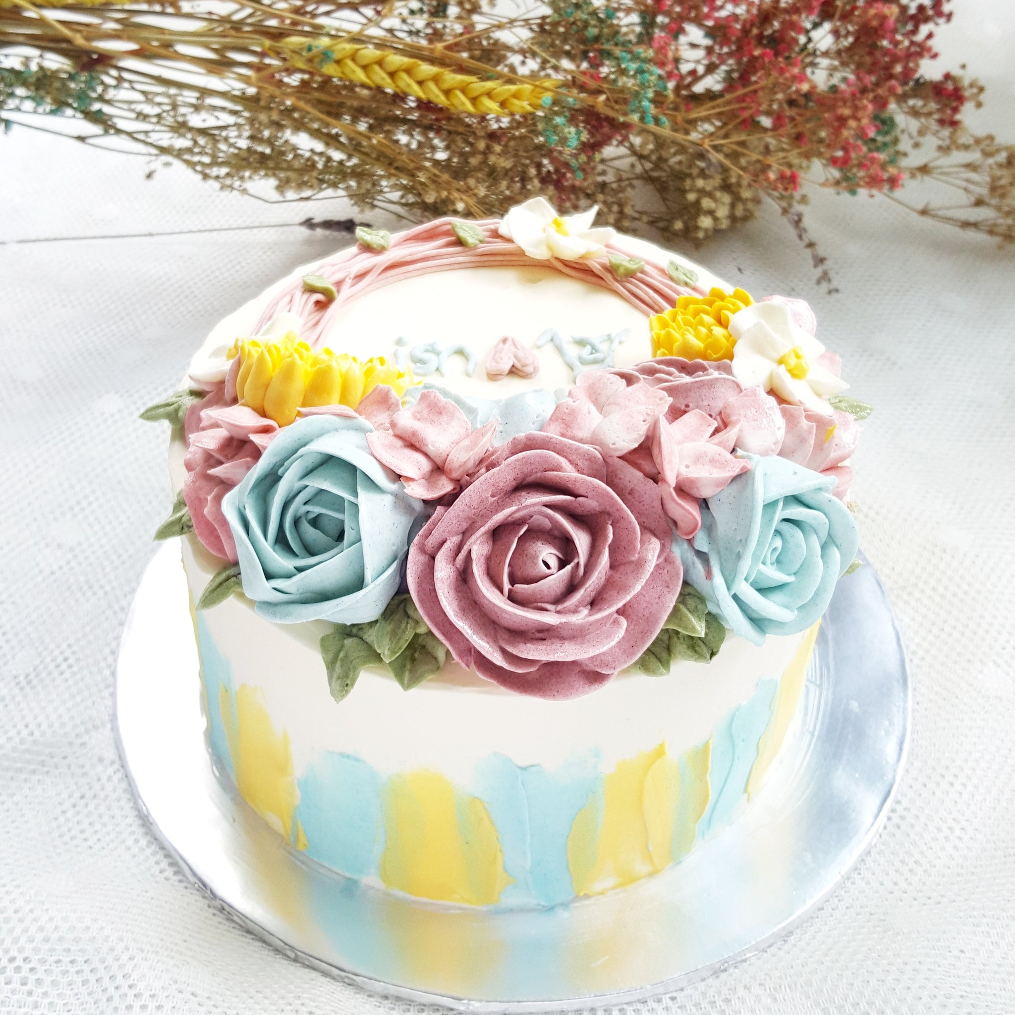 Fairyland Crescent Floral Cake (9-inch)