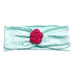 Headband / Girls - Aqua with Bright Pink Flower - M0382